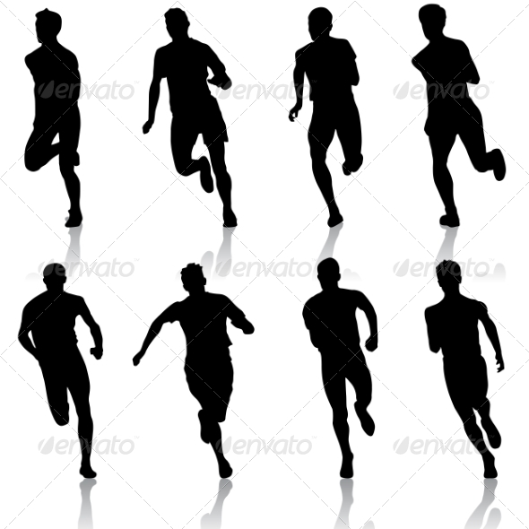 GraphicRiver Set of Running Silhouettes 6887619