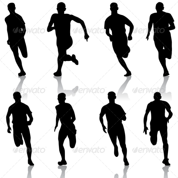 GraphicRiver Set of Running Silhouettes 6887620