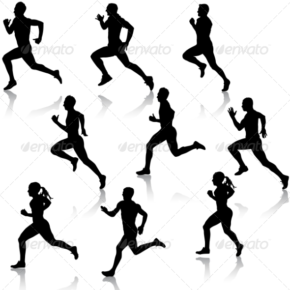 GraphicRiver Running Silhouettes Set 6887623