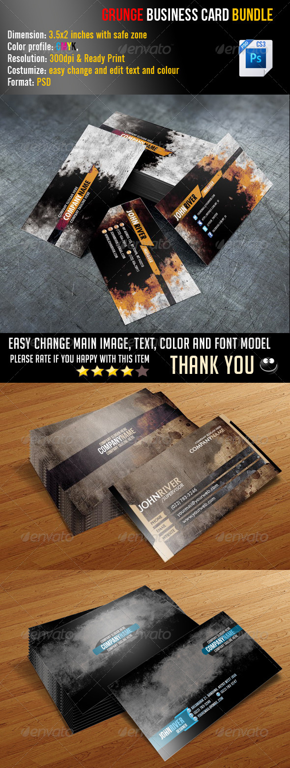 GraphicRiver Grunge Business Card Bundle 6887654