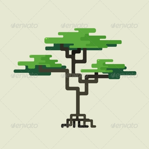 GraphicRiver Stylized Geometric Design of Green Trees 6887880