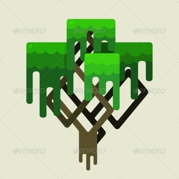 GraphicRiver Stylized Geometric Design of Green Trees 6887881