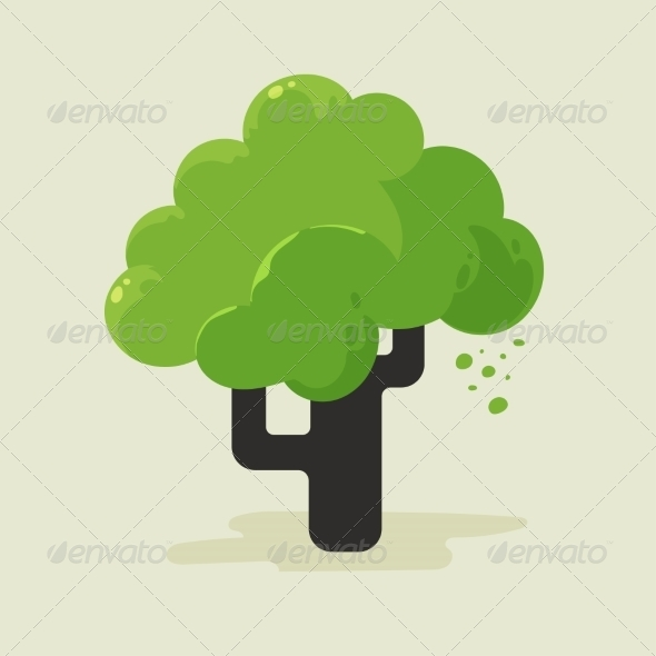 GraphicRiver Illustration of a Flat Tree with Green Foliage 6887882