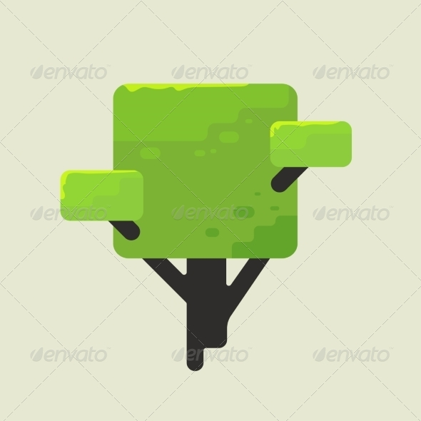 GraphicRiver Illustration of a Square Tree with Green Foliage 6887883