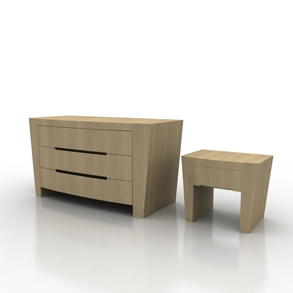 Drawer and Night Table Annibale Colombo - 3DOcean Item for Sale