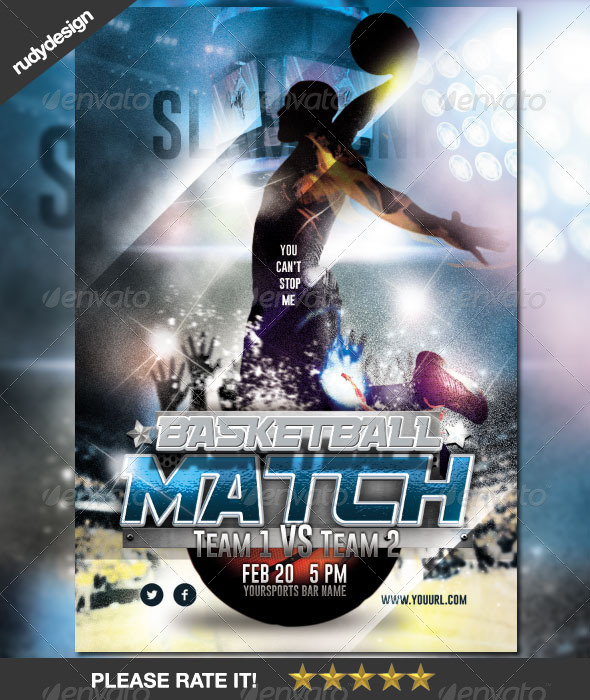 GraphicRiver Basketball Match Night Flyer Design 6888087