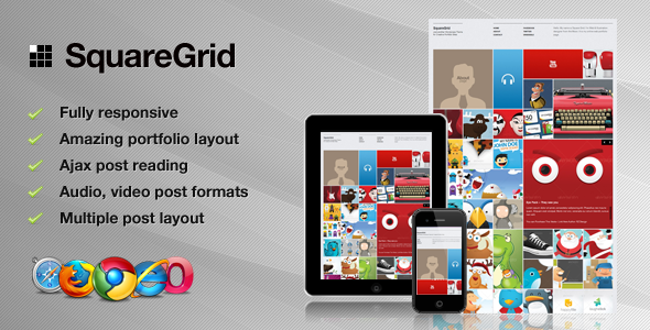 SquareGrid - Fully Responsive Theme For Portfolio - Preview image