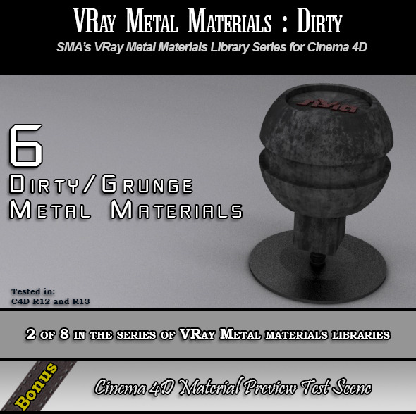6 VRay Dirty/Grunge Materials Pack for Cinema 4D - 3DOcean Item for Sale