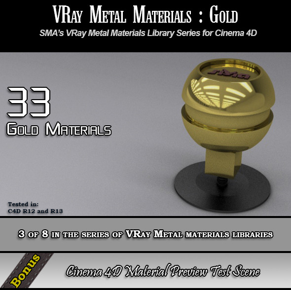 33 VRay Gold Materials Pack for Cinema 4D - 3DOcean Item for Sale