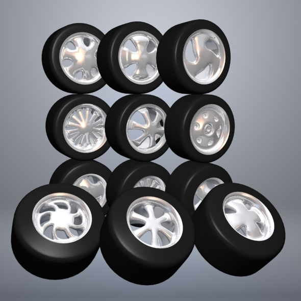 Set Of Cartoon Wheels - 3DOcean Item for Sale