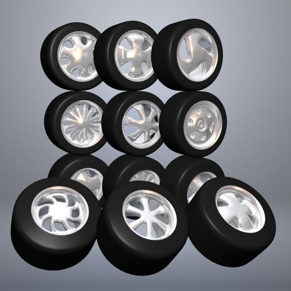 3DOcean Set Of Cartoon Wheels 6888743