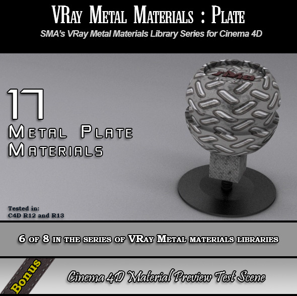 3DOcean 17 VRay Metal Plate Materials Pack for Cinema 4D 6888870