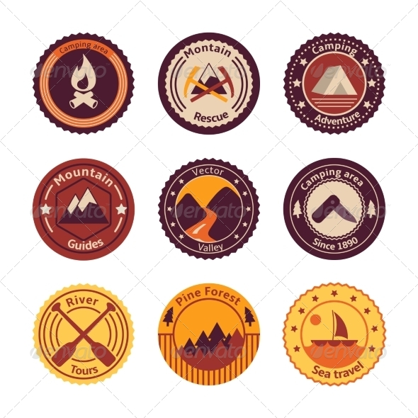 GraphicRiver Outdoors Tourism Camping Flat Badges 6889534
