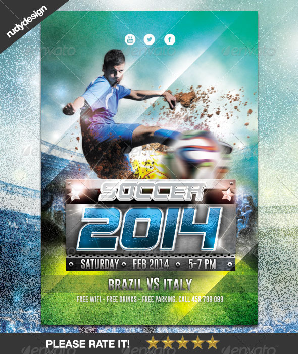 GraphicRiver Soccer Cup 2014 Flyer Design 6889685