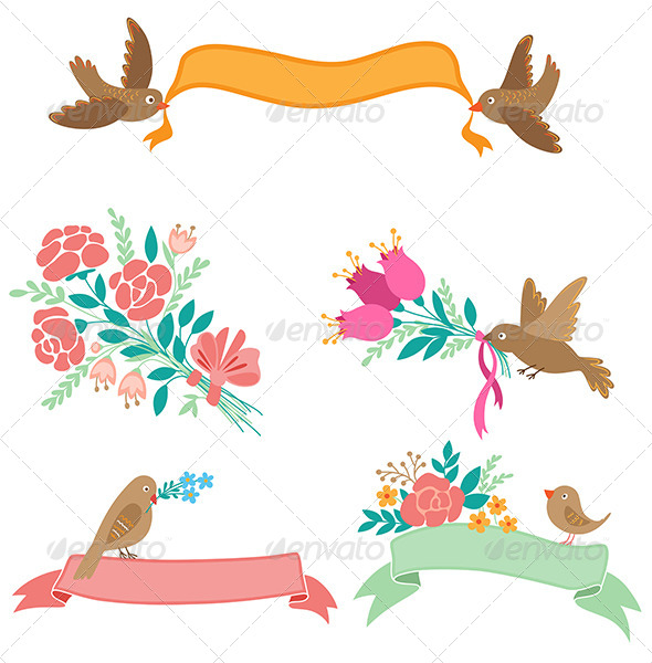 GraphicRiver Banners with Flowers and Birds 6890025