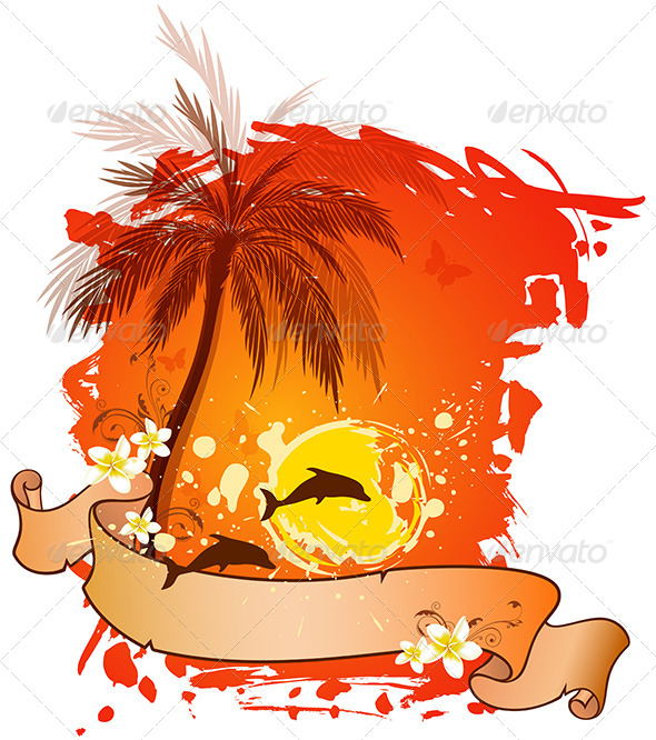 GraphicRiver Background with Palms and Dolphins 6890132