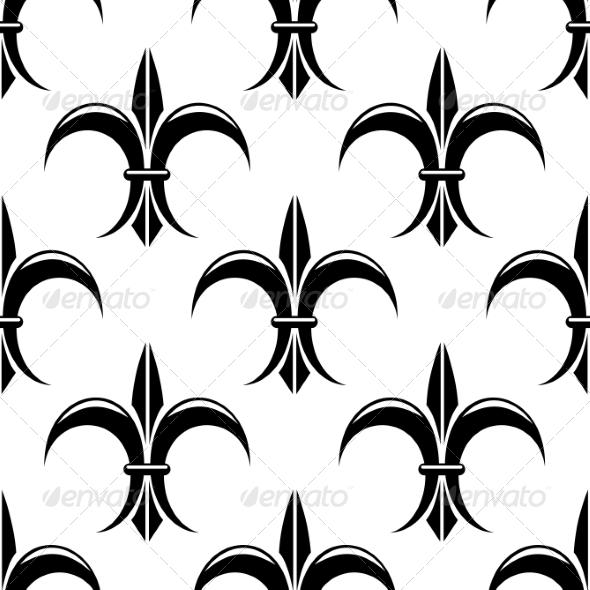 GraphicRiver Black and White Fleur de Lys Seamless Pattern 6890262