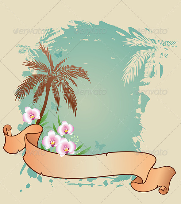 GraphicRiver Summer Background with Palms and Orchids 6890263