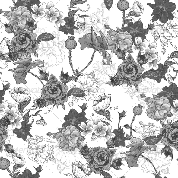 GraphicRiver Monochrome Background with Flowers 6890276