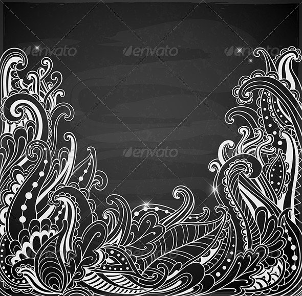 GraphicRiver Abstract Hand Drawn Black Background 6890289