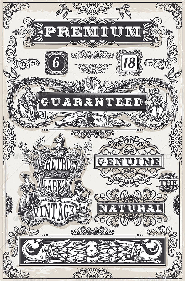 GraphicRiver Vintage Hand Drawn Graphic Banners and Labels 6890340