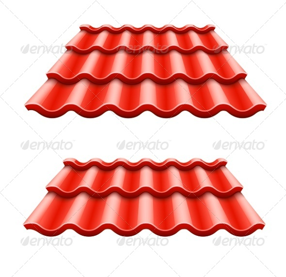 GraphicRiver Red Corrugated Tile Element of Roof 6890516