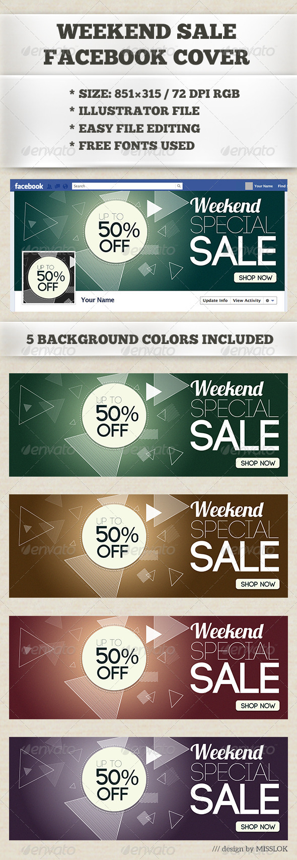 GraphicRiver Weekend Sale Facebook Cover 6890778