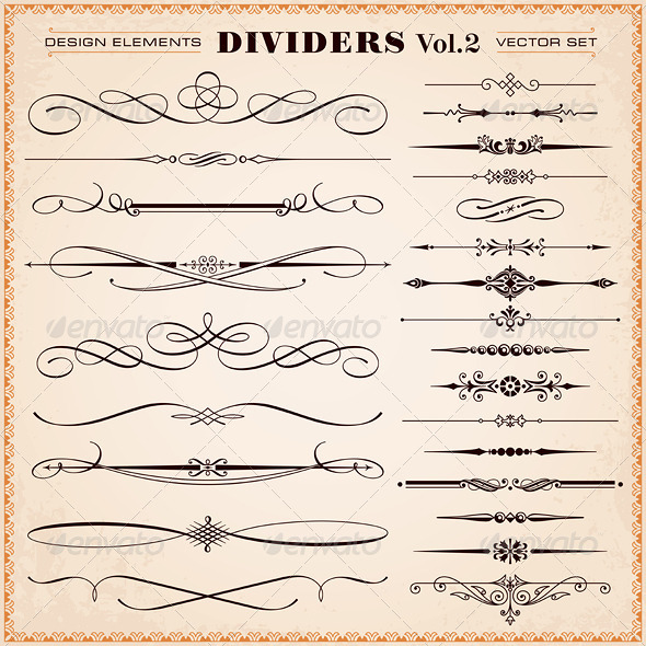 GraphicRiver Vector Design Elements Dividers And Dashes 6891273