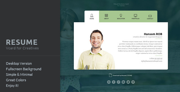Resume - Vcard for Creatives - Muse Templates