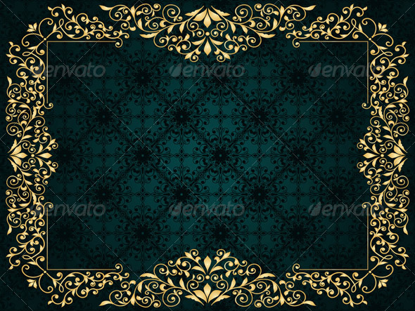 Vector Greeting Card with Golden Frame