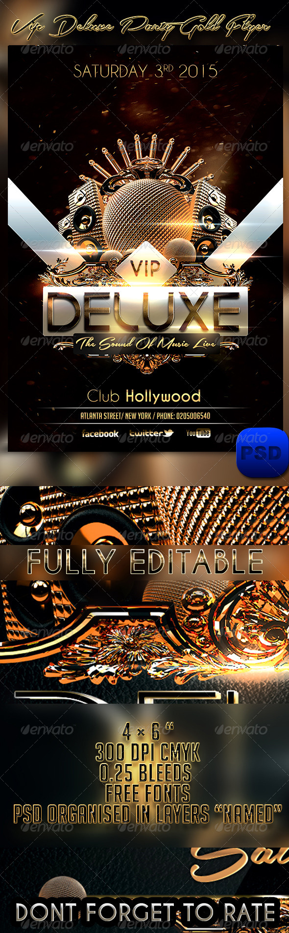 GraphicRiver VIP Deluxe Party Gold Flyer Template 6892530
