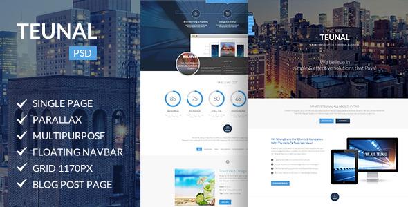 Teunal | Multi-Purpose Parallax PSD Landing Page