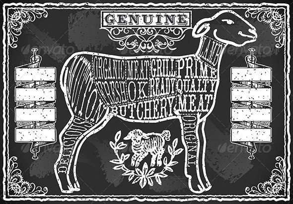GraphicRiver Vintage Blackboard of English Cut of Lamb 6892752