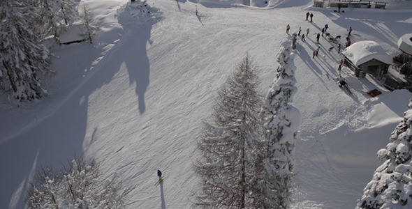 Aerial View of Dolomites Skiing Area under Trees