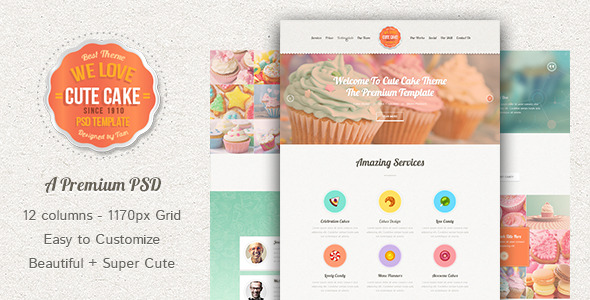 Cute Cake - One Page PSD Template - Food Retail