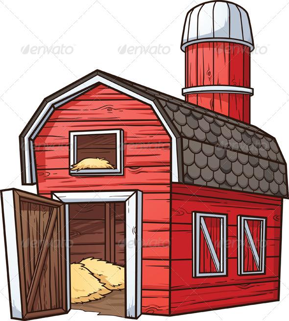 Cartoon Barn Buildings Objects