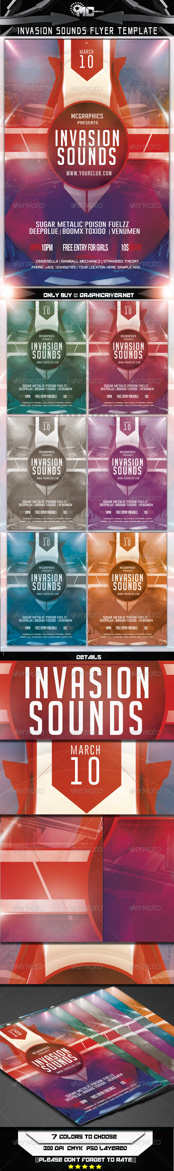 GraphicRiver Invasion Sounds Flyer Template 6893625