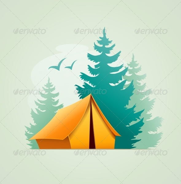 GraphicRiver Tent in Forest Camping 6894147