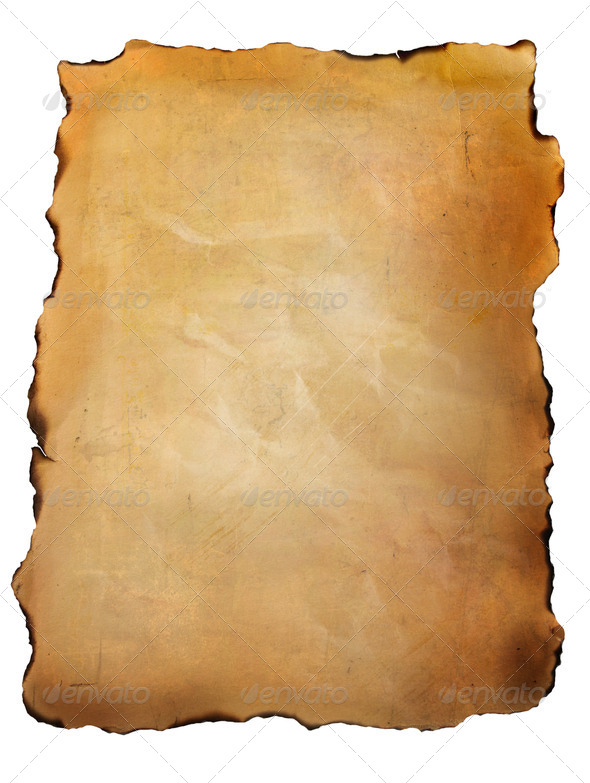 Old parchment paper against white - Stock Photo - Images