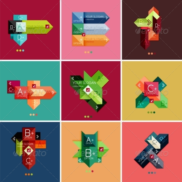 GraphicRiver Set of Flat Design Geometric Infographic Templates 6895195