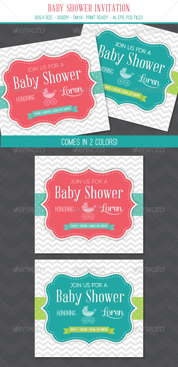 GraphicRiver Baby Shower Invitation Card 6895308
