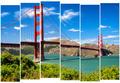 Golden gate bridge vivid landscape view in stripes, San Francisc