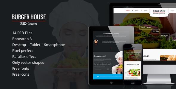 ThemeForest Burger House Responsive PSD Theme 6895430