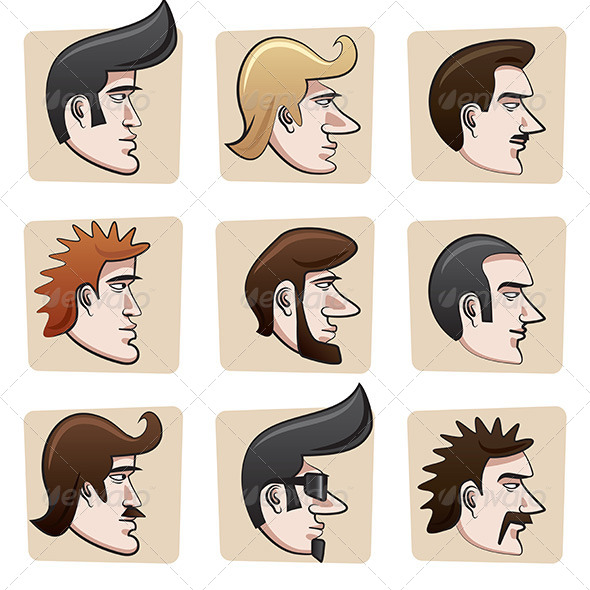GraphicRiver Cartoon Men Heads 6895742