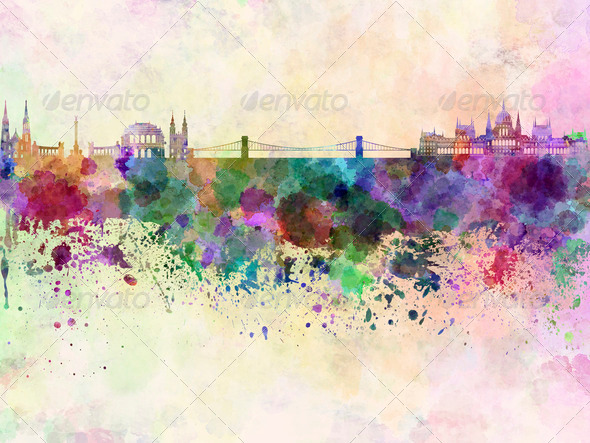 Budapest skyline in watercolor background - Stock Photo - Images