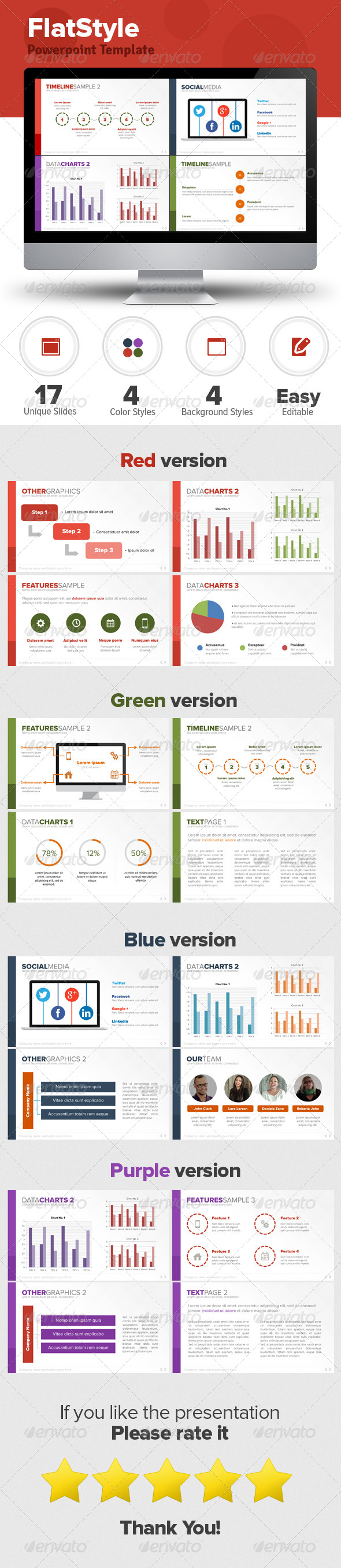Flat Style Powerpoint Template - Business Powerpoint Templates