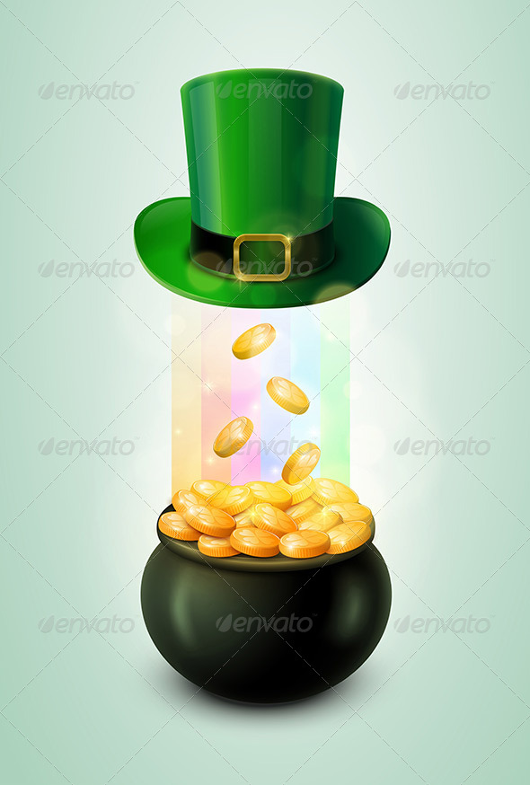 Pot of Gold and Green Leprechaun Hat