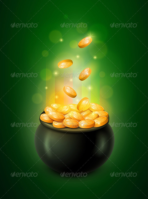 GraphicRiver Pot of Gold and Green Leprechaun Hat 6896142
