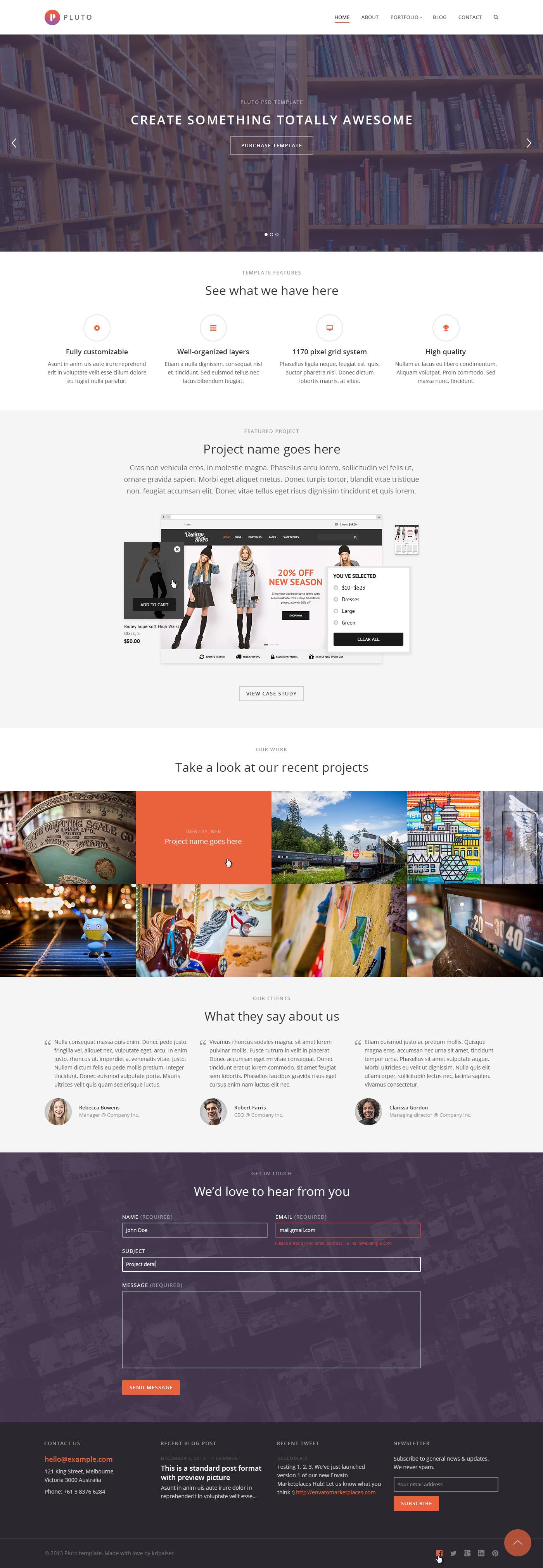 Pluto Parallax HTML Portfolio Template