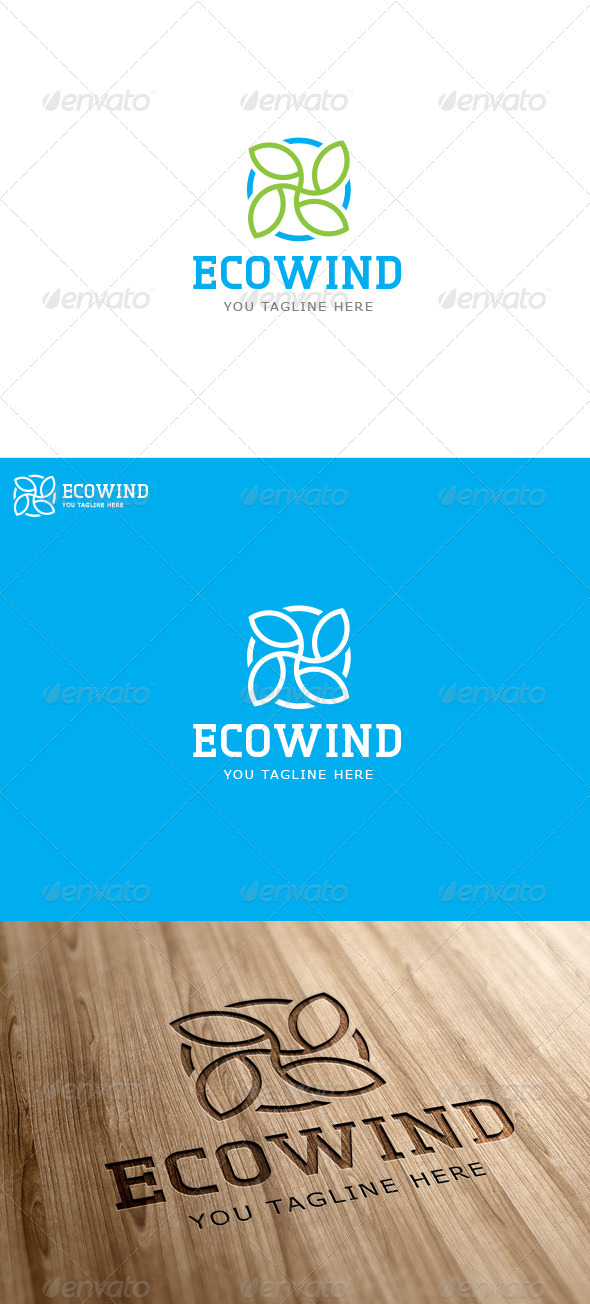 Eco Wind Logo Template - Vector Abstract